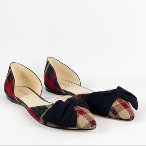 Nine West Red/Tan Plaid Black Bow Flats Size 10
